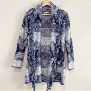 AE Aztec Knit Pattern & Fringe Open Front Sweater